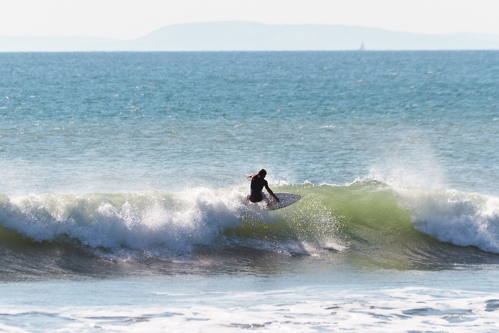 Summer surfing at Compton Bay, Isle of Wight, England,