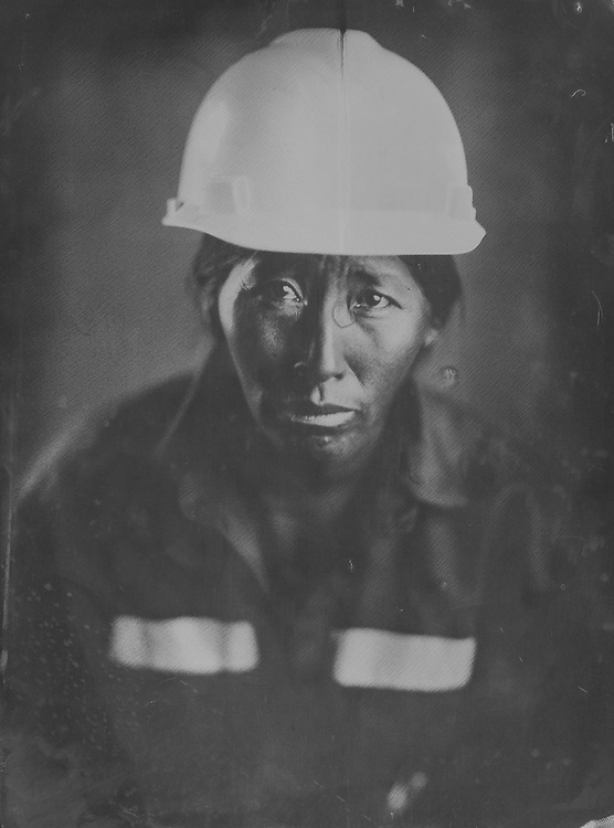 Teofila, mine worker from Puno. Tintype portraits from the SOTRAMI gold and silver mine in Santa Filomena, Peru. These are scans of collodion wetplate photographs.