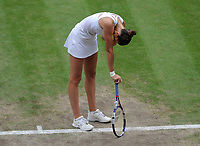Lawn Tennis - 2021 All England Championships - Woman's Final - Wimbledon<br /> Ashleigh Barty v Karolina Pliskova<br /> <br /> Karolina Pliskova shows her dissapointment after losing her serve<br /> <br /> <br /> Credit : COLORSPORT/Andrew Cowie