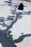 tree shadow and feet of a man walking a way from a black bag, Amsterdam Museumplein