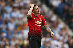 Manchester United's Victor Lindelof appears dejected
