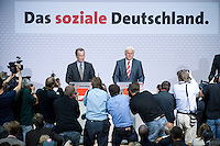 08 SEP 2008, BERLIN/GERMANY:<br /> Franz Muentefering (L), SPD, desig. Parteivorsitzender, und Frank-Walter Steinmeier (R), SPD, Bundesaussenminister und desig. Kanzlerkandidat, waehrend einer Pressekonferenz nach den Sitzungen von SPD Praesidium und Parteivorstand nach dem Ruecktritt von K urt B eck, Willy-Brandt-Haus<br /> IMAGE: 20080908-03-009<br /> KEYWORDS: Franz Müntefering, Kamera, Camera, Journalist, Journalisten