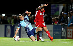 Lee Tomlin of Bristol City is tackled by Stephen McGinn of Wycombe Wanderers - Mandatory by-line: Robbie Stephenson/JMP - 09/08/2016 - FOOTBALL - Adams Park - High Wycombe, England - Wycombe Wanderers v Bristol City - EFL League Cup