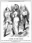 Franco-Prussian War 1870-1871: Britannia trying to restrain Napoleon III embarking on war with Germany. French declaration delivered to Berlin 19 July, proclamation  23 July. John Tenniel cartoon from Punch, London, 23 July 1870. Engraving