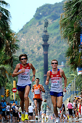 01-08-2010 ATLETIEK: EUROPEAN ATHLETICS CHAMPIONSHIPS: BARCELONA <br /> Koen Raymaekers is 17th in the marathon. In the background Mirador de Colom<br /> ©2010-WWW.FOTOHOOGENDOORN.NL