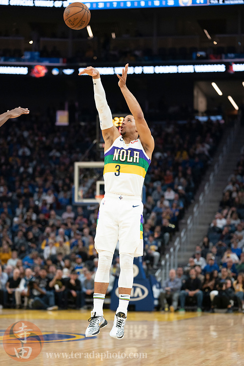 February 23, 2020; San Francisco, California, USA; New Orleans Pelicans guard Josh Hart (3) shoots the basketball during the third quarter against the Golden State Warriors at Chase Center.