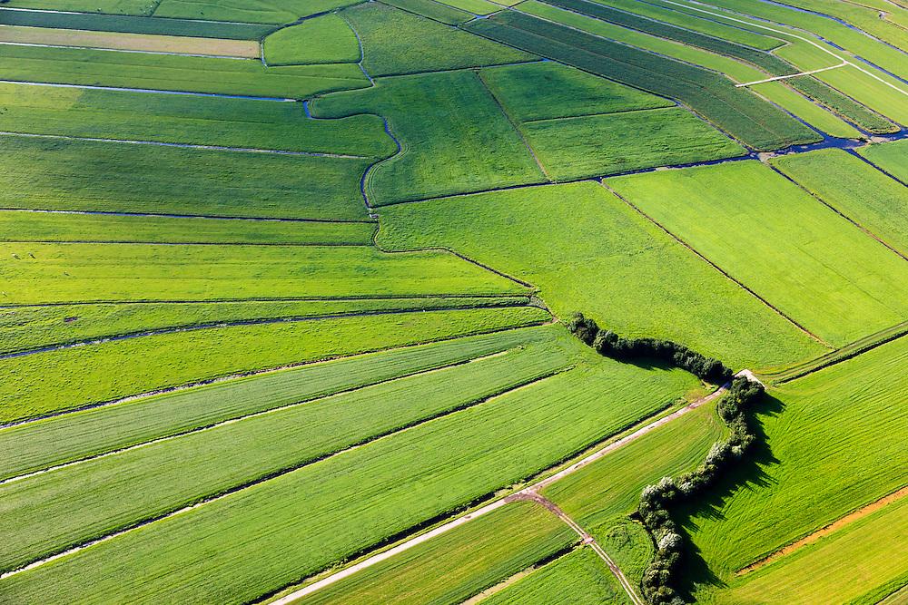 Nederland, Zuid-Holland, Gemeente Bodegraven, 15-07-2012; Noorzijderpolder en Meijepolder, veenweidegbied tussen Bodegraven en Meije. Het landschap is ontstaan door het ontginnen van het veen (cope-ontginning). De Noordzijdskade (met bomen) is een zogenaamde achterkade, scheidingtussen wel en niet ontgonnen veen.  .This polder and bog meadows area was created by the extraction of peat (land reclamation)..luchtfoto (toeslag), aerial photo (additional fee required).foto/photo Siebe Swart