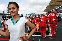Grid girl for Sebastian Vettel (GER) Ferrari SF16-H.<br /> 02.10.2016. Formula 1 World Championship, Rd 16, Malaysian Grand Prix, Sepang, Malaysia, Sunday.<br /> Copyright: Photo4 / XPB Images / action press