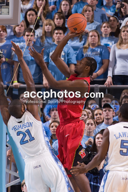 19 January 2008: Maryland Terrapins forward James Gist (15) shoots over North Carolina forward Deon Thompson (21) during a 93-84 win over the North Carolina Tar Heels at the Dean Smith Center in Chapel Hill, NC.