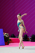 Stojanov Rejchl from Macedonia competes during the Rhythmic Gymnastics Individual World Cup qualification at Vitrifrigo Arena on May 28-29, 2021, in Pesaro, Italy. She is an individual rhythmic gymnast born in Los Angeles in 2003.