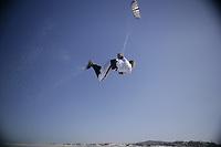 kiteboarder kitesurfer athlete performing kitesurfing kiteboarding tricks