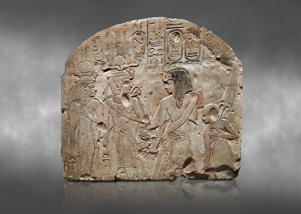 Ancient Egyptian stele depicting Sethy I adoring Amenhotep I and Nefertari, limestone, New Kingdom, 19th Dynasty, (1279-1213 BC), Deir el-Medina,  Egyptian Museum, Turin. Grey background. Schiaparelli Cat 6189. .<br /> <br /> If you prefer to buy from our ALAMY PHOTO LIBRARY  Collection visit : https://www.alamy.com/portfolio/paul-williams-funkystock/ancient-egyptian-art-artefacts.html  . Type -   Turin   - into the LOWER SEARCH WITHIN GALLERY box. Refine search by adding background colour, subject etc<br /> <br /> Visit our ANCIENT WORLD PHOTO COLLECTIONS for more photos to download or buy as wall art prints https://funkystock.photoshelter.com/gallery-collection/Ancient-World-Art-Antiquities-Historic-Sites-Pictures-Images-of/C00006u26yqSkDOM