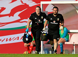 NEWPORT, WALES - Tuesday, June 12, 2018: Wales' Hillary Gannon and Chris Elliott during the FIFA Women's World Cup 2019 Qualifying Round Group 1 match between Wales and Russia at Newport Stadium. (Pic by David Rawcliffe/Propaganda)