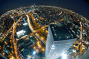 Aerial fish-eye view of Tel Aviv, Israel Looking North. Azrieli tower in the foreground