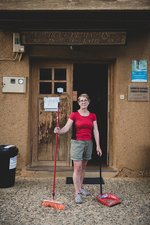 Diane, from Australia, volunteers for 15 days at Albergue Dominico Laffi in El Burgo Ranero, Spain. Many albergues are staffed by volunteers who have previously traveled the Camino. (June 20, 2018)<br /> <br /> DAY 24: SAHAGUN T0 EL BURGO RANERO -- 18 KM