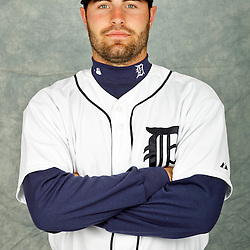 February 28, 2012; Lakeland, FL, USA; Detroit Tigers catcher Curt Casali (82) poses for photo day in the rec room at the Detroit Tigers Headquarters.  Mandatory Credit: Derick E. Hingle-US PRESSWIRE