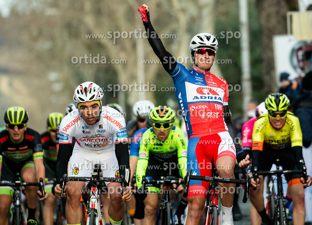 Second placed Paolo Toto of Sangemini Trevigiani Mg.K Vis Team and winner Marko Kump of Adria Mobil at finish line during the cycling race 6. VN Slovenske Istre / 6th Slovenian Istra Grand Prix, on February 24, 2019 in Izola/ Isola, Slovenia. Photo by Vid Ponikvar / Sportida