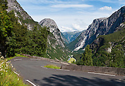 Take the old Royal Mail road of Stalheimskleiva, the steepest road (18% grade) in Northern Europe, to view the Nærøy Valley (Nærøydalen) and Jordalsnuten mountain, starting from Stalheim Hotel, in Voss municipality, Hordaland county, Norway.