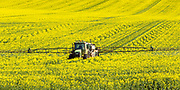 John Deere tractor and sprayer unit spraying field of canola near  Yathella, New South Wales, Australia. <br />