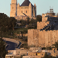 Israel, Jerusalem, Church of the Holy Sepulcher and walled city at sunrise