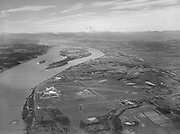 4623. New Portland airport showing Columbia River and Mt. Hood. February 21, 1940. (Portland Columbia Airport, now Portland International Airport)