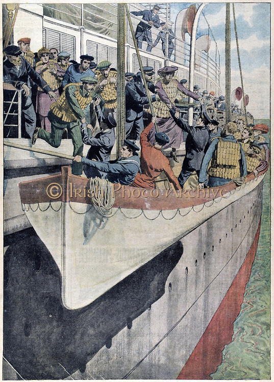 The Lesson of SS Titanic:  Lifeboat drill on a passenger liner, 1912. Operated by the White Star Line, on 14 April 1912 SS Titanic struck an iceberg in thick fog off Newfoundland. She was the largest and most luxurious ocean liner of her time, and thought to be unsinkable.  In the collision five of her watertight compartments were compromised and she sank. Out of the 2228 people on board, only 705 survived.  A major cause of the loss of life was the insufficient number of lifeboats she carried.  Better provision of lifejackets and lifeboats began immediately after the disaster.  From 'Le Petit Journal'. (Paris, 2 June 1912).