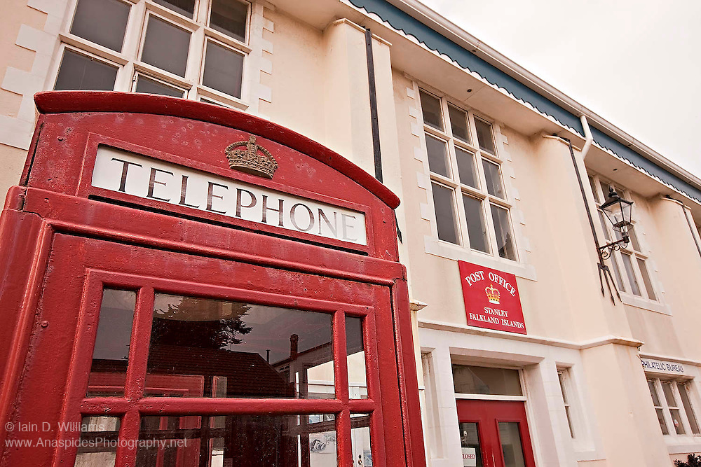 Post Master General's Office equipped with the distinctly British red telephone booth in Stanley, the capital of the Falkland Islands