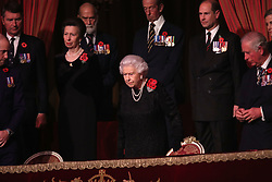 Queen Elizabeth II with, the Princess Royal, Prince Michael of Kent, Earl of Wessex and Prince of Wales, takes her seat for the annual Royal British Legion Festival of Remembrance at the Royal Albert Hall in London, which commemorates and honours all those who have lost their lives in conflicts.
