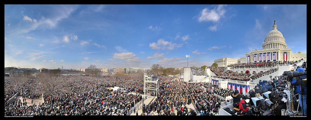 Inauguration of Barack Obama<br /> 1/20/2009<br /> <br /> Panoramic Photograph of Inauguration of Barack Obama 1/20/2009.  Obama takes in final crowd ovation at end of event.  View from Capitol to Washington Monument. Print Size (in inches): 15x5.5; 24x9; 36x14; 48x18.5; 60x23; 72x27