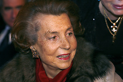 File photo - Lilianne Bettencourt pictured during the 'L'OREAL-UNESCO' prize, in Paris, France, on February 22, 2007. Liliane Bettencourt has died aged 94 it was announced on September 21, 2017. Bettencourt was the richest person in France and the third-richest woman in the world with a net worth of $40 billion. She was the sole heir to L'Oreal, the largest cosmetics company in the world, which was started by her father, and a large shareholder in Nestle. Nearly a decade ago a trial forced Liliane's personal business into the public light, laid bare her obsession with a flashy homosexual photographer whom she turned into a billionaire, destroyed her relationship with her daughter, turned a long time family butler against her, and, finally, turned the dowager heiress into even more of a recluse than she had been before. Photo by Bernard Bisson/ABACAPRESS.COM