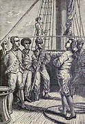 Captain Bligh in the power of the Mutineers. HMS Bounty, also known as HM Armed Vessel Bounty, was a small merchant vessel that the Royal Navy purchased in 1787 for a botanical mission. The ship was sent to the South Pacific Ocean under the command of William Bligh to acquire breadfruit plants and transport them to the West Indies. That mission was never completed owing to a 1789 mutiny led by acting lieutenant Fletcher Christian, an incident now popularly known as the mutiny on the Bounty. The mutineers later burned Bounty while she was moored at Pitcairn Island.