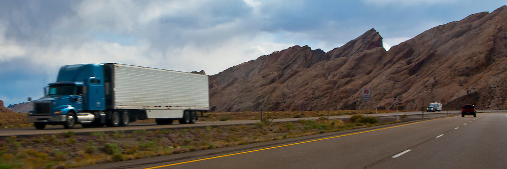 Interstate 70 and US highway US 50,  approach the San Rafael Swell of Green River, Utah panorama