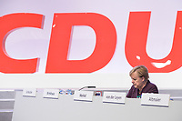 22 NOV 2019, LEIPZIG/GERMANY:<br /> Angela Merkel, CDU, Bundeskanzlerin, CDU Bundesparteitag, CCL Leipzig<br /> IMAGE: 20191122-01-176<br /> KEYWORDS: Parteitag, party congress, allein, Logo