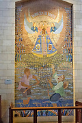 Religious artwork. Mosaic of the Madonna and Child from Brasil, at the Basilica of the Annunciation, Israel, Nazareth