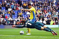Exeter City's Graham Cummins shoots but is ruled offside. Skybet football league two match, Tranmere Rovers v Exeter city at Prenton Park in Birkenhead, the Wirral on Saturday 20th Sept 2014.<br /> pic by Chris Stading, Andrew Orchard sports photography.