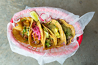 BENTONVILLE, AR - FEBRUARY 15:  Assortment of Mexican Street Tacos from Yeyo's Mexican Grill at the 8th Street Market in Bentonville, Arkansas.<br /> CREDIT Wesley Hitt for The Wall Street Journal<br /> WALMART-Bentonville Scene-setters