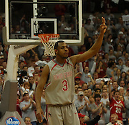 """MORNING JOURNAL/DAVID RICHARD.Ivan Harris signals """"three""""  after starting the game with a 3-pointer Sunday, Feb. 25, 2007, in Columbus, Ohio. Ohio State beat Wisconsin 49-48."""