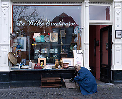 Detail of antiques shop  in central Utrecht The Netherlands