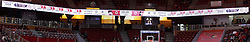 06 January 2016: Redbird Arena south end score board during the Illinois State Redbirds v Loyola-Chicago Ramblers at Redbird Arena in Normal Illinois (Photo by Alan Look)<br /> <br /> This is an image composite, stitched panoramic.