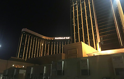 Oct. 2, 2017 - Las Vegas, Nevada, USA - The Mandalay Bay Hotel is seen near the site of shooting in Las Vegas, the United States. At least 50 people were killed and over 200 others wounded in a mass shooting at a concert Sunday night outside of the Mandalay Bay Hotel in Las Vegas in the U.S. state of Nevada.  (Credit Image: © Huang Chao/Xinhua via ZUMA Wire)