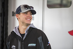 October 19, 2018 - Kansas City, Kansas, United States of America - Ryan Reed (16) hangs out in the garage prior to practice for the Kansas Lottery 300 at Kansas Speedway in Kansas City, Kansas. (Credit Image: © Justin R. Noe Asp Inc/ASP via ZUMA Wire)