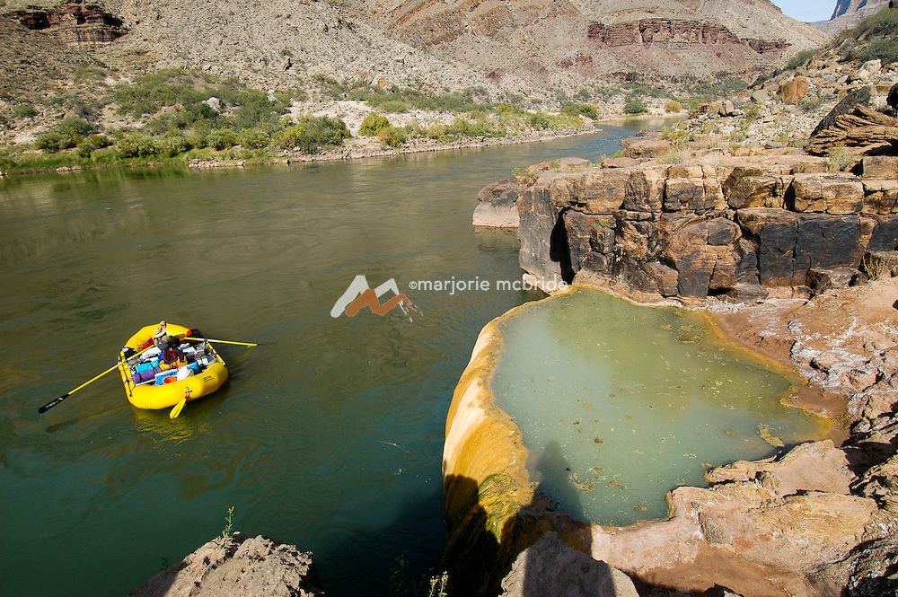 View of boat beside Pumpkin Springs on the Colorado River in the Grand Canyon National Park, Arizona.