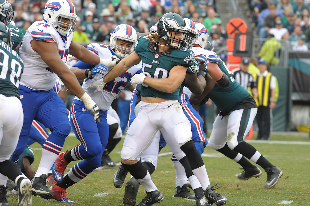 Kiko Alonso #50 of the Philadelphia Eagles  during the game against the Bills on Dec. 13, 2015 at Lincoln Financial Field in Phila. PA (Photo by Ed Mahan)