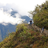 South America, latin America, Peru, Urubamba. Hiking trail from Machu Picchu to Sun Gate, or Intipunku.