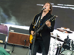 © Licensed to London News Pictures. 26/06/2015. Pilton, UK.  The Libertines performing on the The Pyramid Stage stage at Glastonbury Festival 2015 as surprise act, taking the slot vacant by Florence and the Machine who moved up the bill after Foo Fighters pulled out, on Friday Day 3 of the festival.  This years headline acts include Kanye West, The Who and Florence and the Machine, the latter being upgraded in the bill to replace original headline act Foo Fighters.   Photo credit: Richard Isaac/LNP