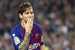 October 20, 2018 - Barcelona, Catalonia, Spain - Leo Messi cellebrating his score during the spanish league La Liga match between FC Barcelona and Sevilla FC at Camp Nou Stadium in Barcelona, Catalonia, Spain on October 20, 2018  (Credit Image: © Miquel Llop/NurPhoto via ZUMA Press)