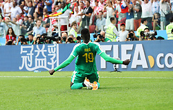 MOSCOW, June 19, 2018  Mbaye Niang of Senegal celebrates scoring during a Group H match between Poland and Senegal at the 2018 FIFA World Cup in Moscow, Russia, June 19, 2018. (Credit Image: © Xu Zijian/Xinhua via ZUMA Wire)