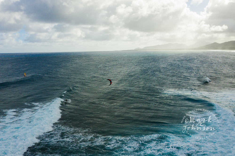 Aerial photograph of kitesurfing at Makaiwa, Kauai, Hawaii
