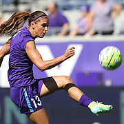 Orlando Pride forward Alex Morgan (13) kickes the ball during warmups prior to  NWSL soccer match against the Seattle Reign FC at Camping World Stadium on May 8, 2016 in Orlando, Florida. (Alex Menendez via AP)