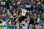 Jordan Hugill of Preston North End climbs to meet a cross during the EFL Sky Bet Championship match between Preston North End and Millwall at Deepdale, Preston, England on 23 September 2017. Photo by Paul Thompson.